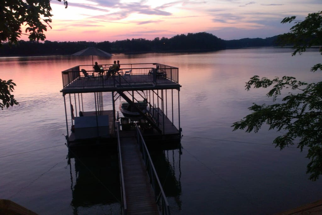 Enjoy appetizers and drinks on this two tiered dock after a day on the lake.