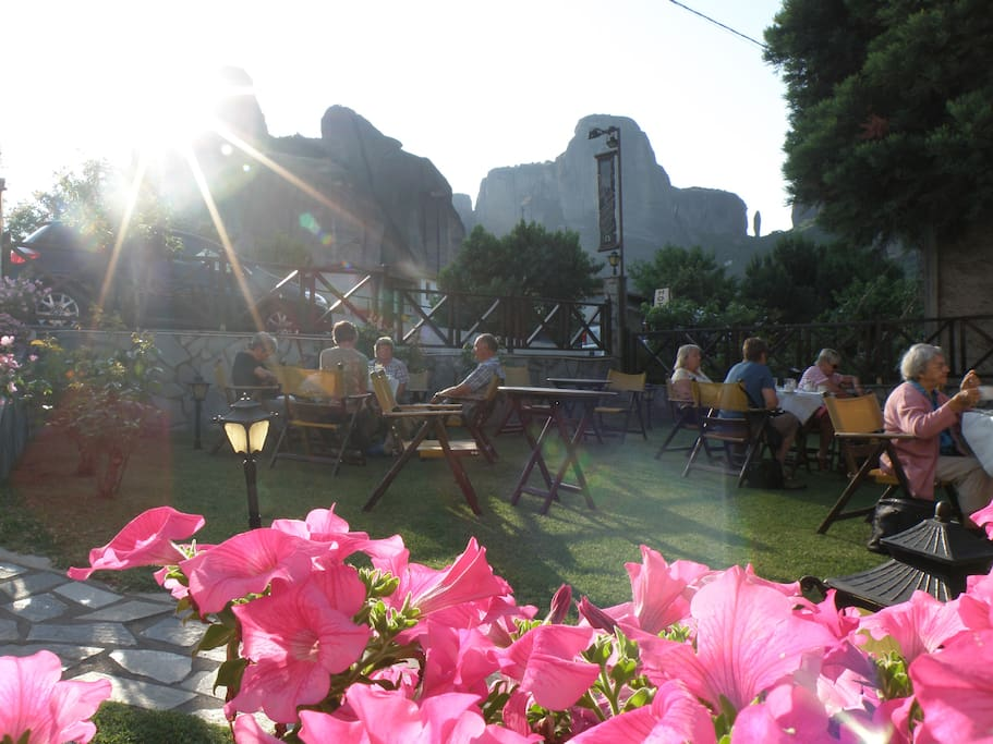 Garden with view to Meteora