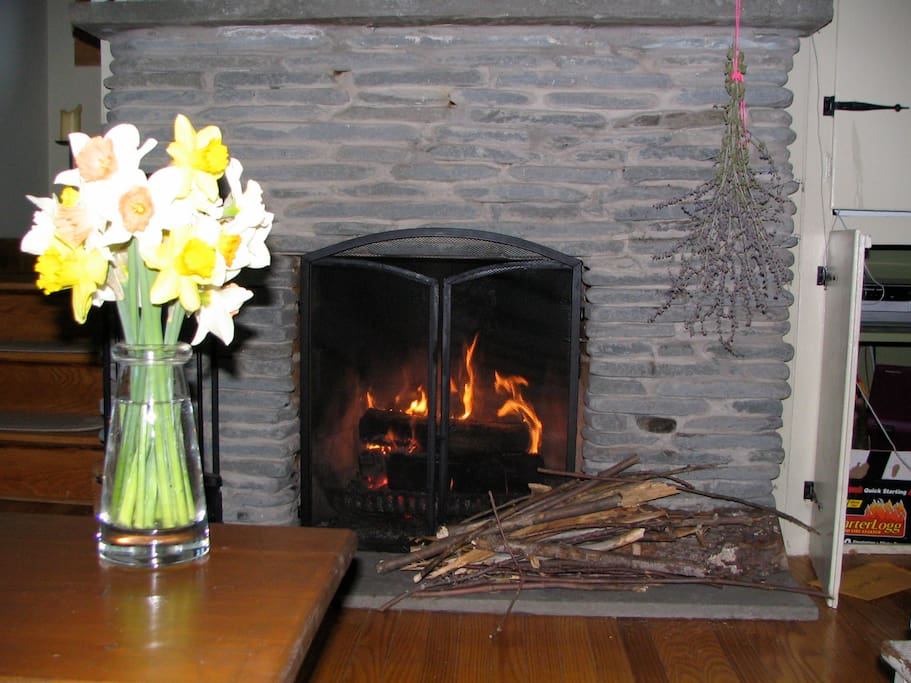 A Heartwarming Stone Fireplace with Plenty of Firewood