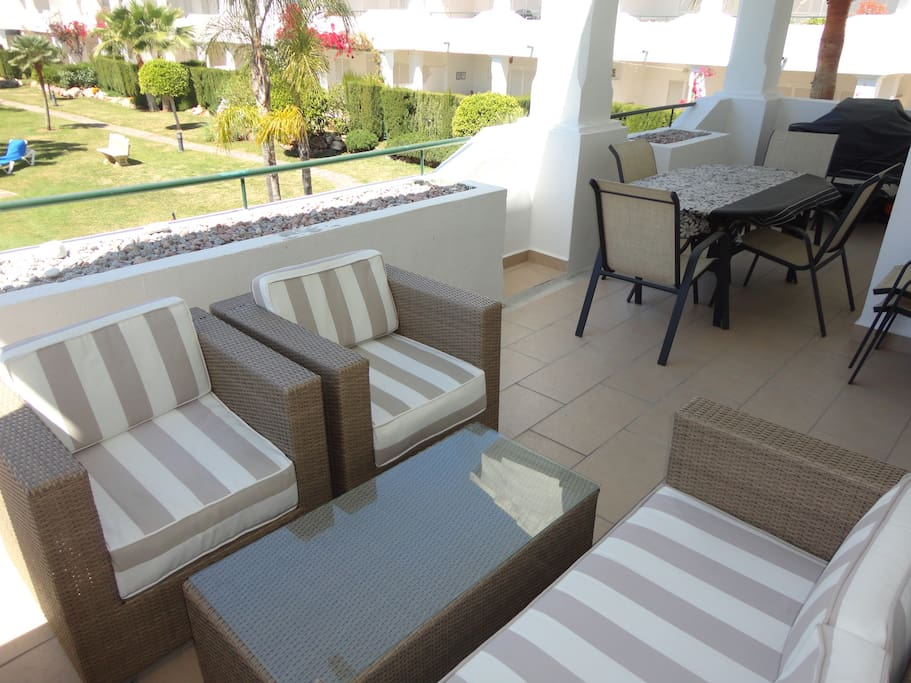Spacious terrace overlooking one of the 5 pools
