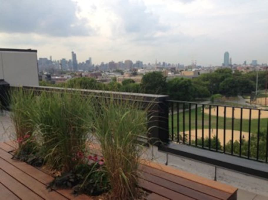 Amazing rooftop terrace view of McCarren Park and full NYC City Skyline