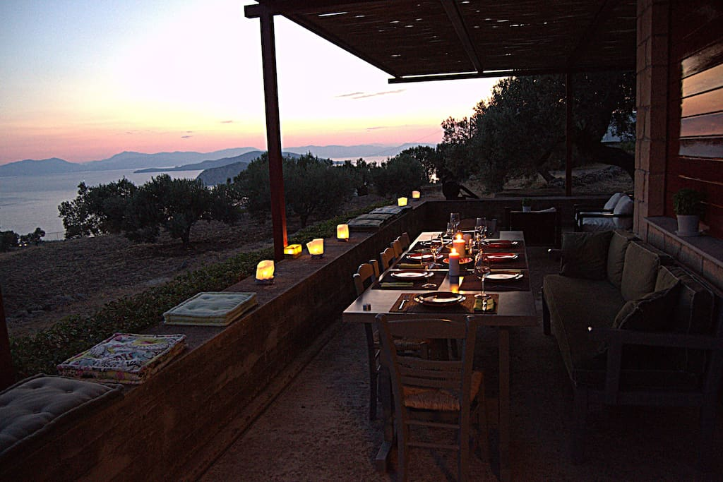 Terrace in the evening - dinner table