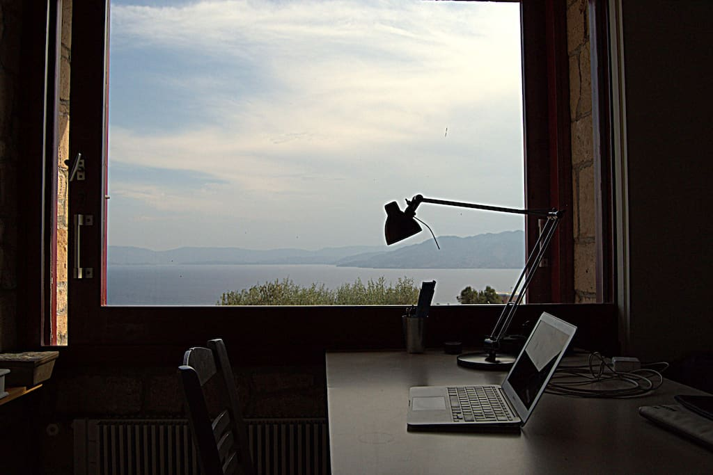 desk with view from the window
