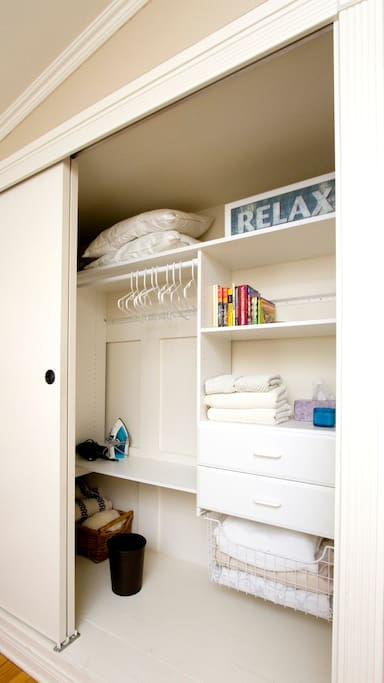 Spacious closet with room to hang your hat.