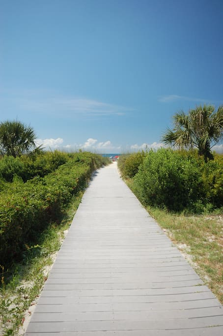 Walkway to the beach just steps from condo