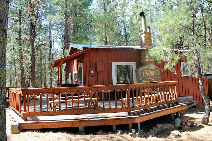 Whitetail and redwood deck