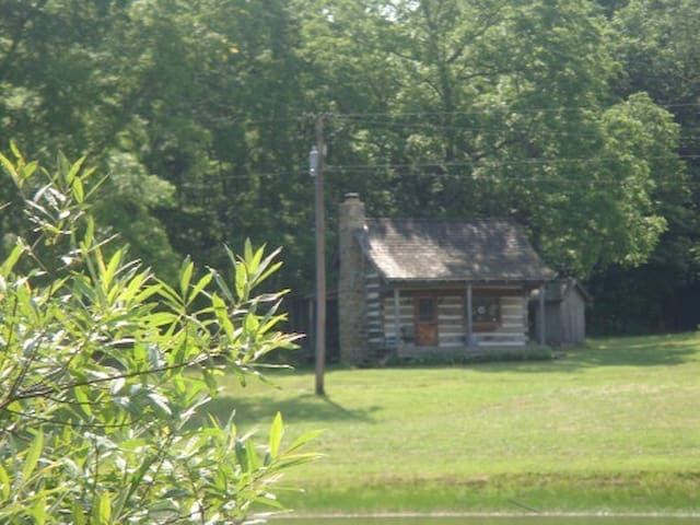 Long view of cabin from pond