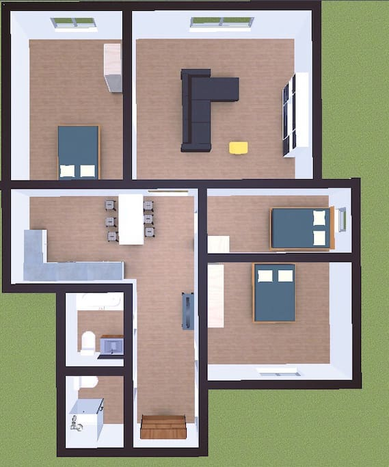 115sqm apartment with 3 bedrooms and 2 bathroom. The apartment can accommodate 8people