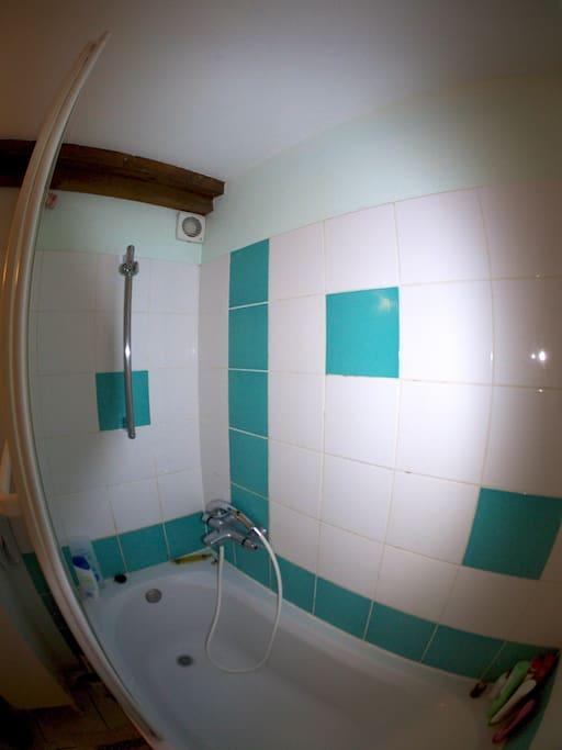 Douche-baignoire dans la salle de bain
