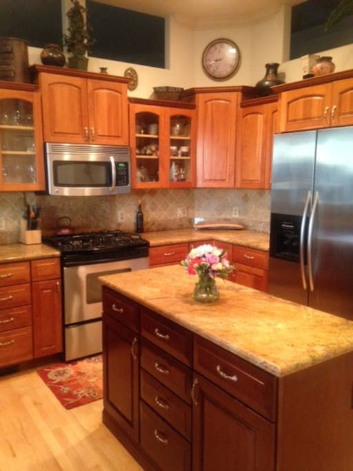 Spacious eat in kitchen with gas range.