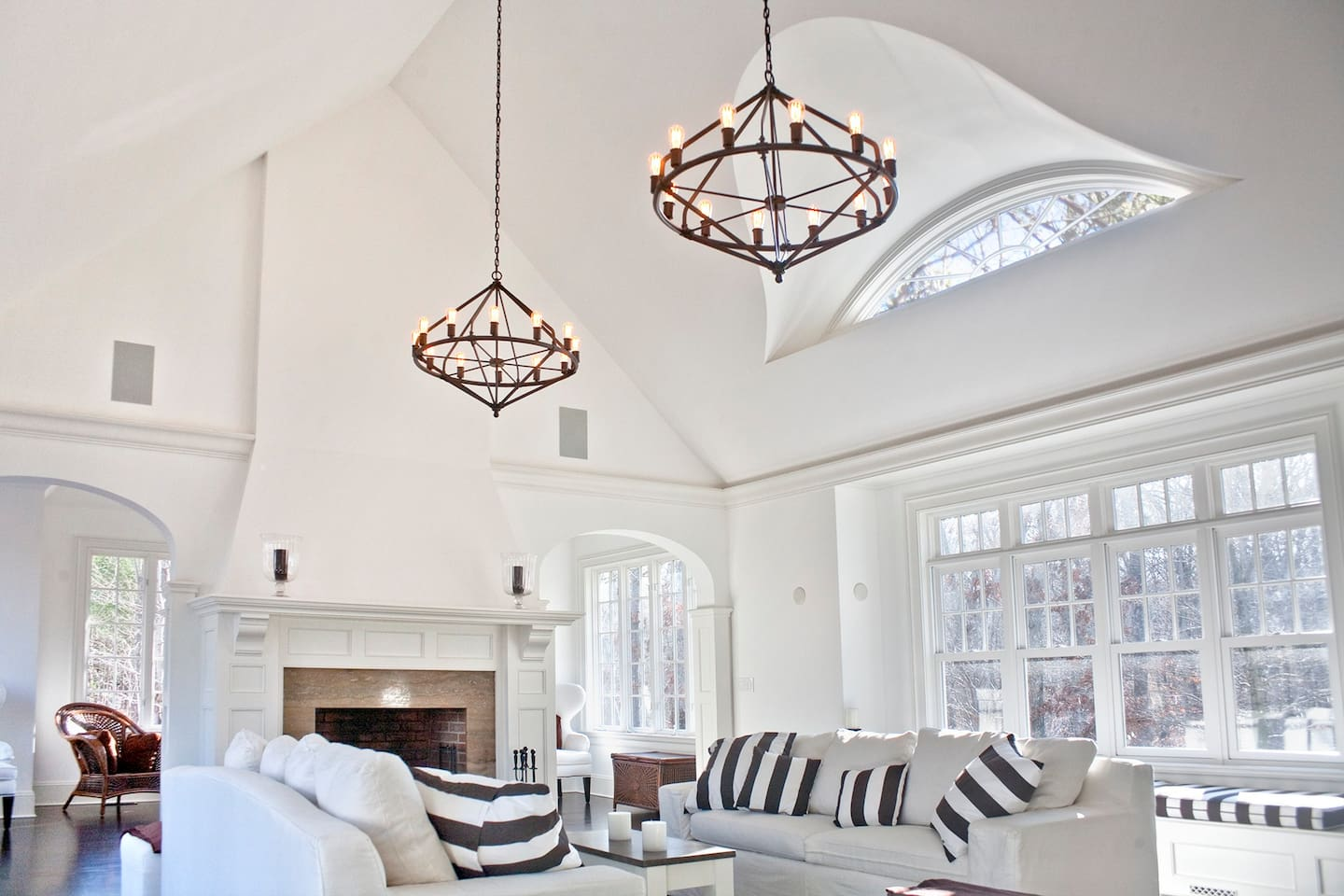 Great Room with 22 ft ceilings