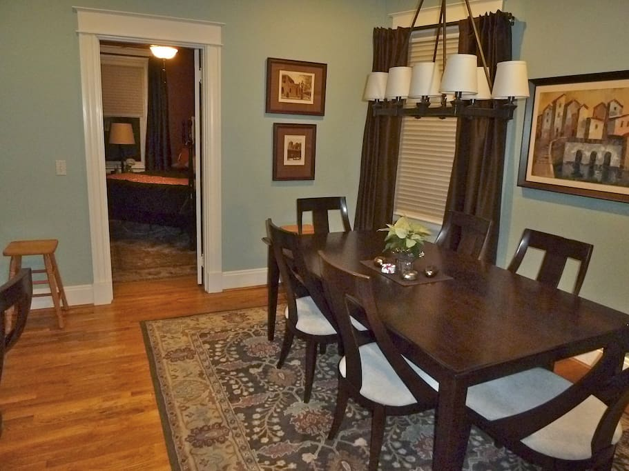 Dining table and guest bedroom entrance