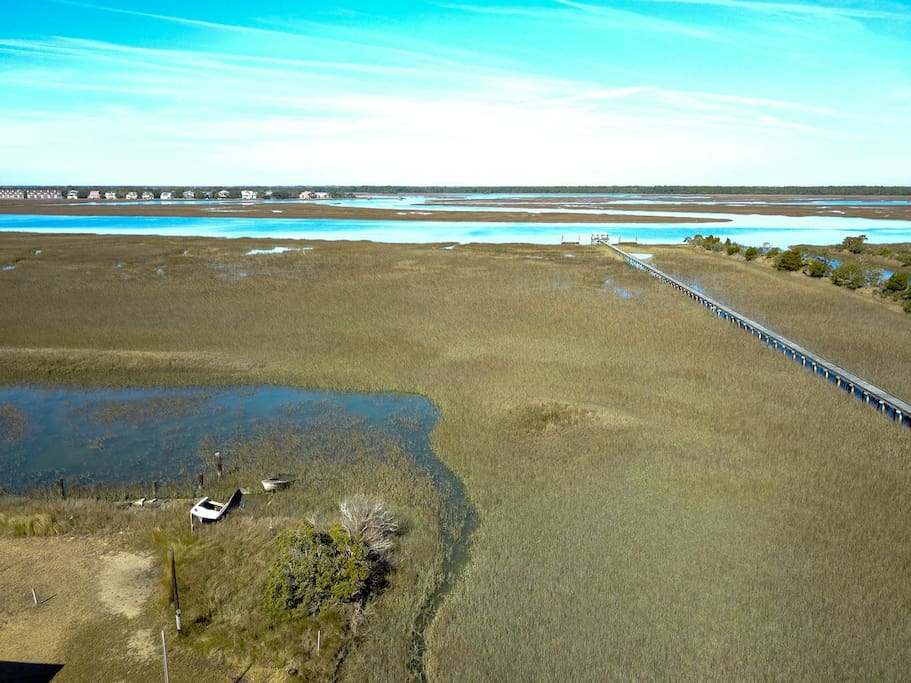 Aerial view from Folly Bungalow overlooking the marsh