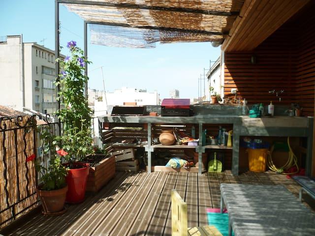 T2 sur cour avec terrasse végétalisée centre ville