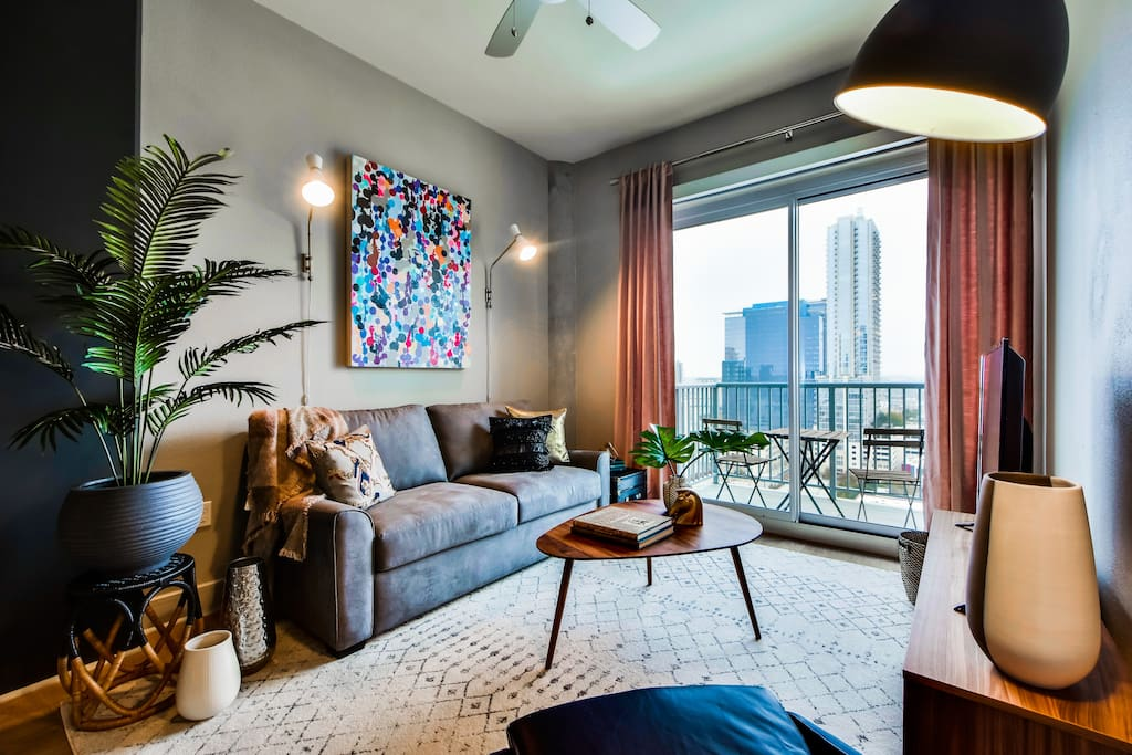 It features floor to ceiling windows, and original artwork by local artists.