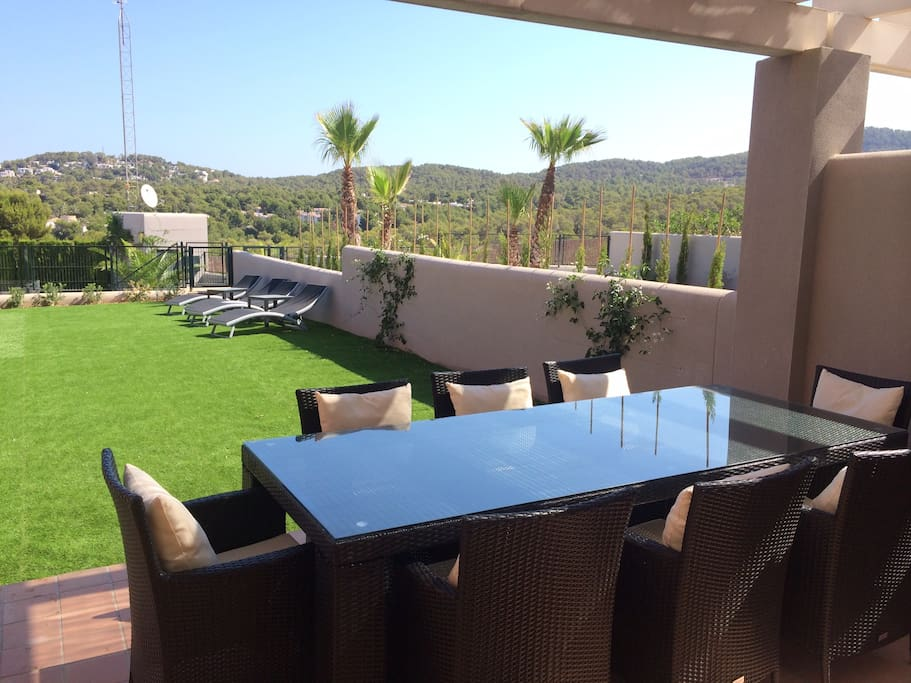 View of the Garden and the mountains, form the living room.