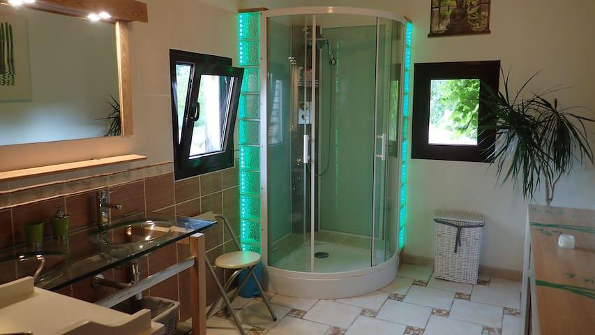 Salle de bain avec douche et double vasque