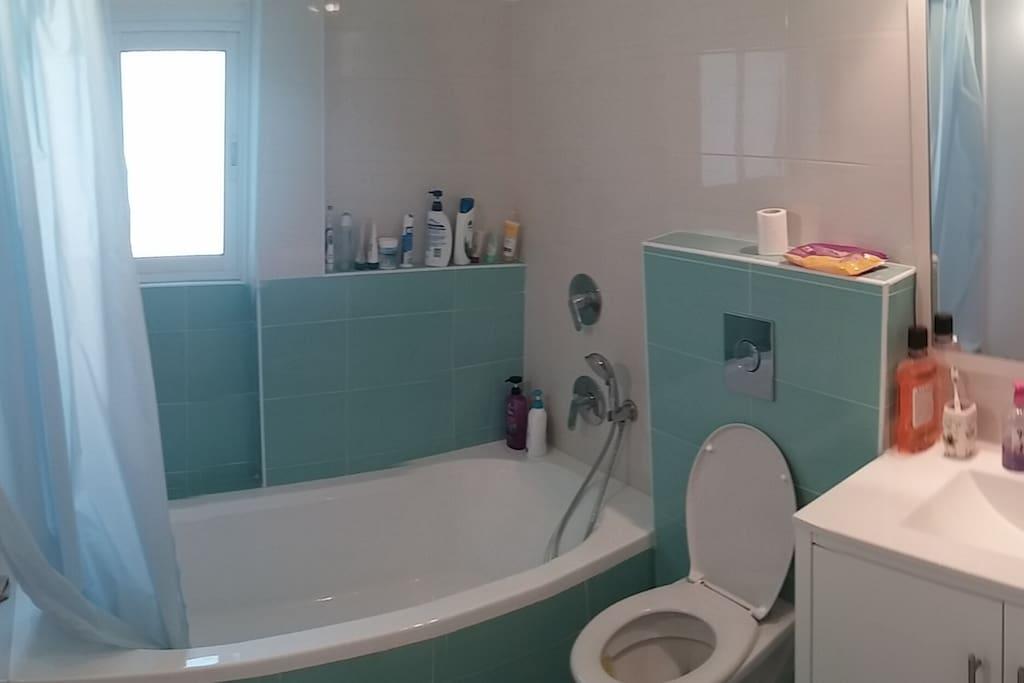 rain shower bath + toilet
