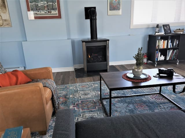 Free-standing gas fireplace