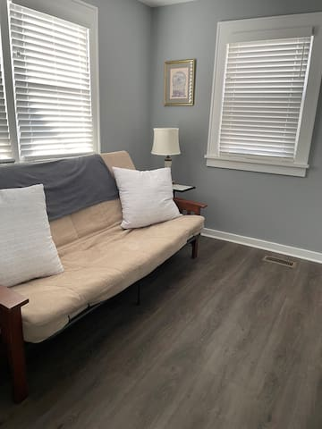 Queen futon with closet and drop down desk