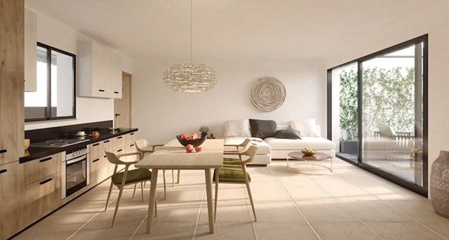 Render of the interior of the apartment. The apartment will be decorated tastefully and in neutral colors.
