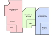 This listing is for king suite A with the jetted tub and master bath. Private entrance. Shared washer dryer in entry.