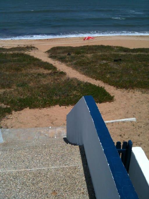 Accès direct de la terrasse à la mer