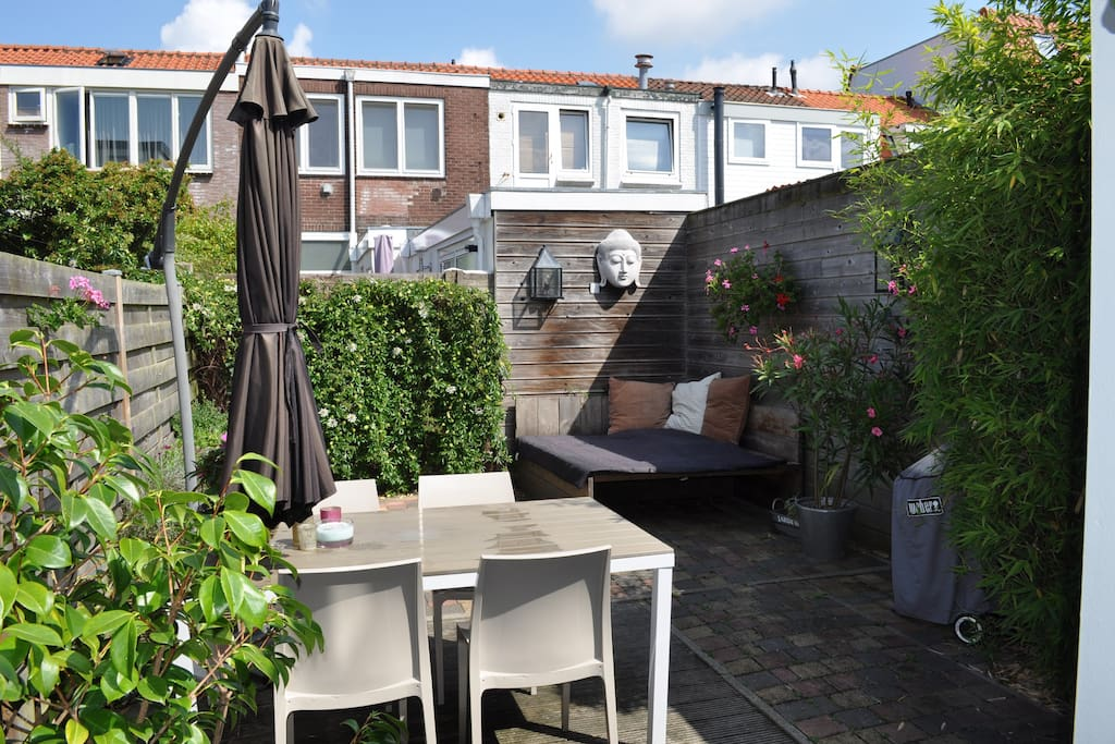 The very sunny backyard, with sun from 10 am till 8 pm