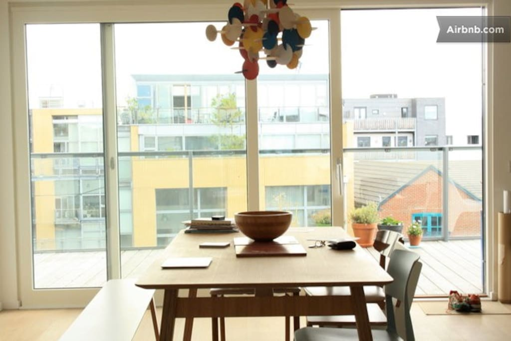 The bright dining space.