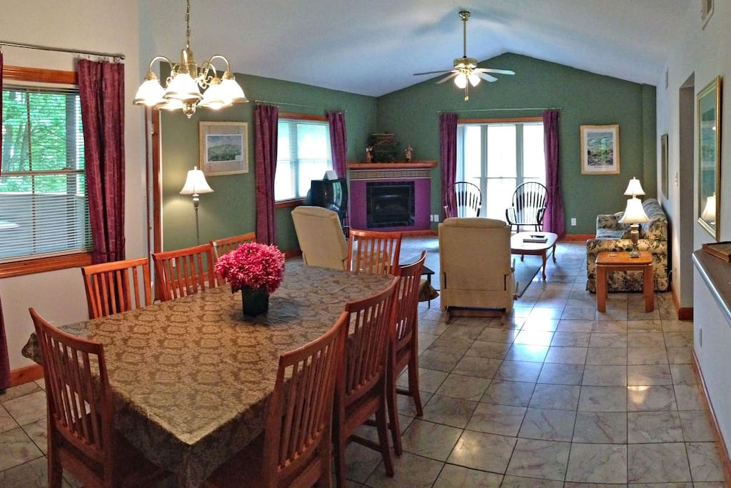 From the entrance, looking at the dining room and living room.