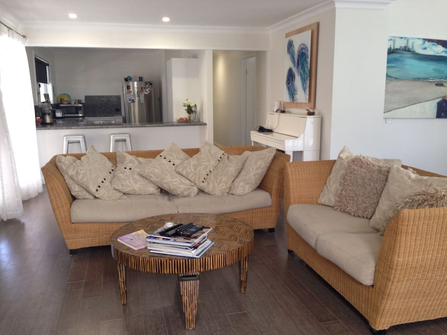 Lovely open space living room adjoins to kitchen and dining.