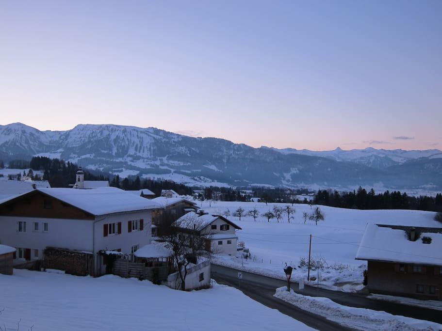 Ausblick von der Wohnküche im Winter
