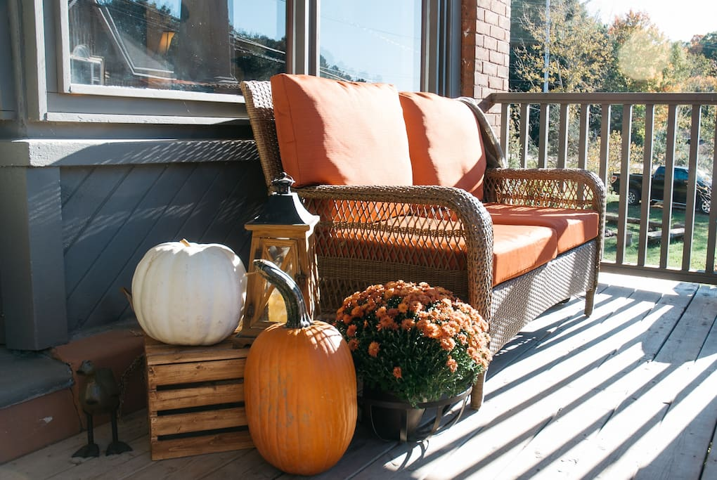 Relax on your private covered porch in any season.