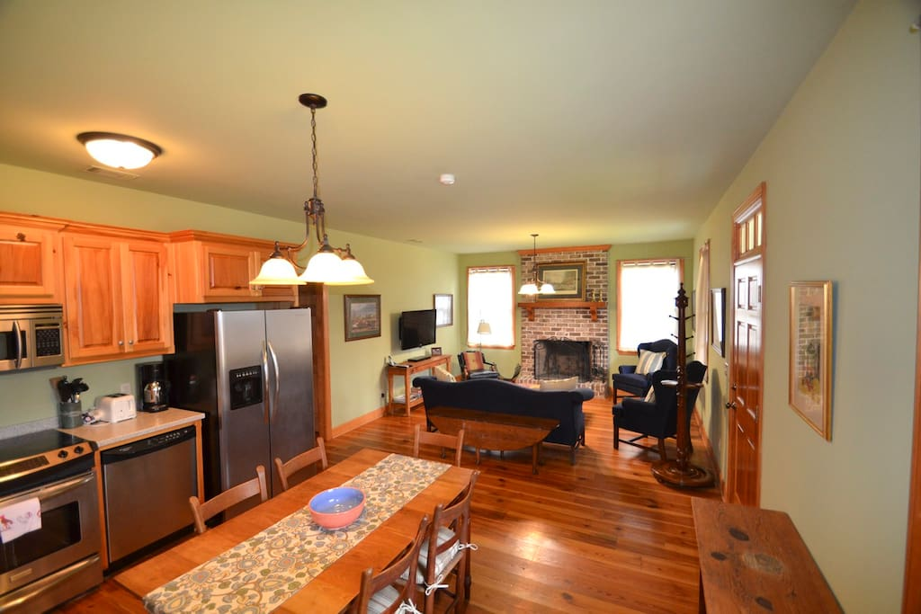 Spacious kitchen and living room