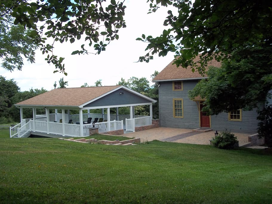 In addition to the barn, we have a Civil War era farmhouse, a patio, pavilion and six beautiful acres.