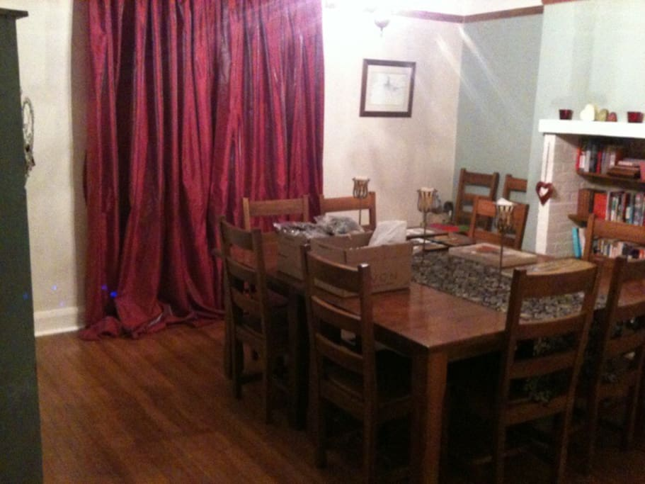 We have a large dining room you are welcome to make use of.
