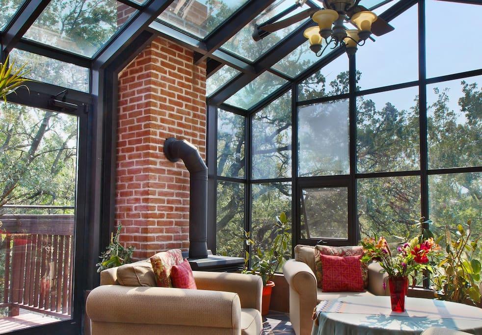 Four season solarium with heated floors and gas fireplace