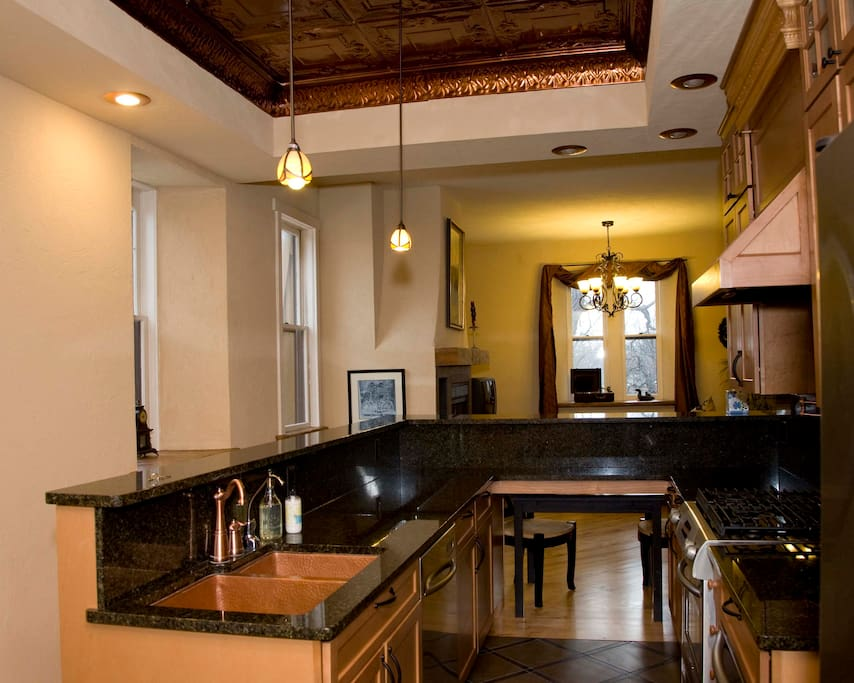 gourmet alley open kitchen with pantry includes wine frig and warming drawer
