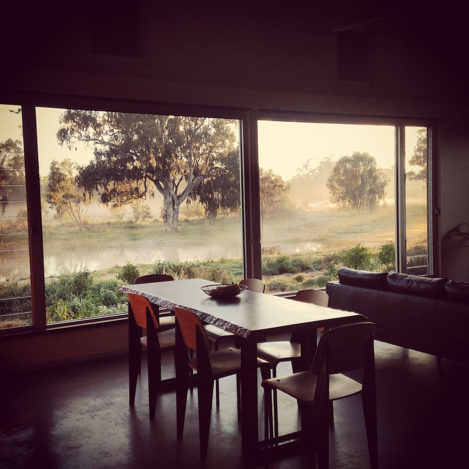 Girragirra. Warm and cosy inside as the mist rises across the floodplain