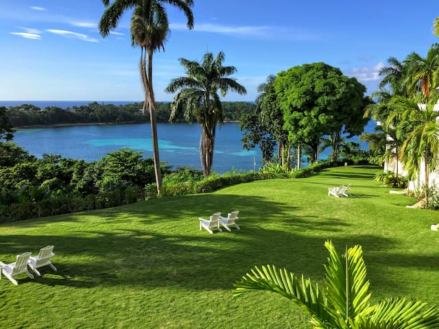Island overlook with acres of gardens