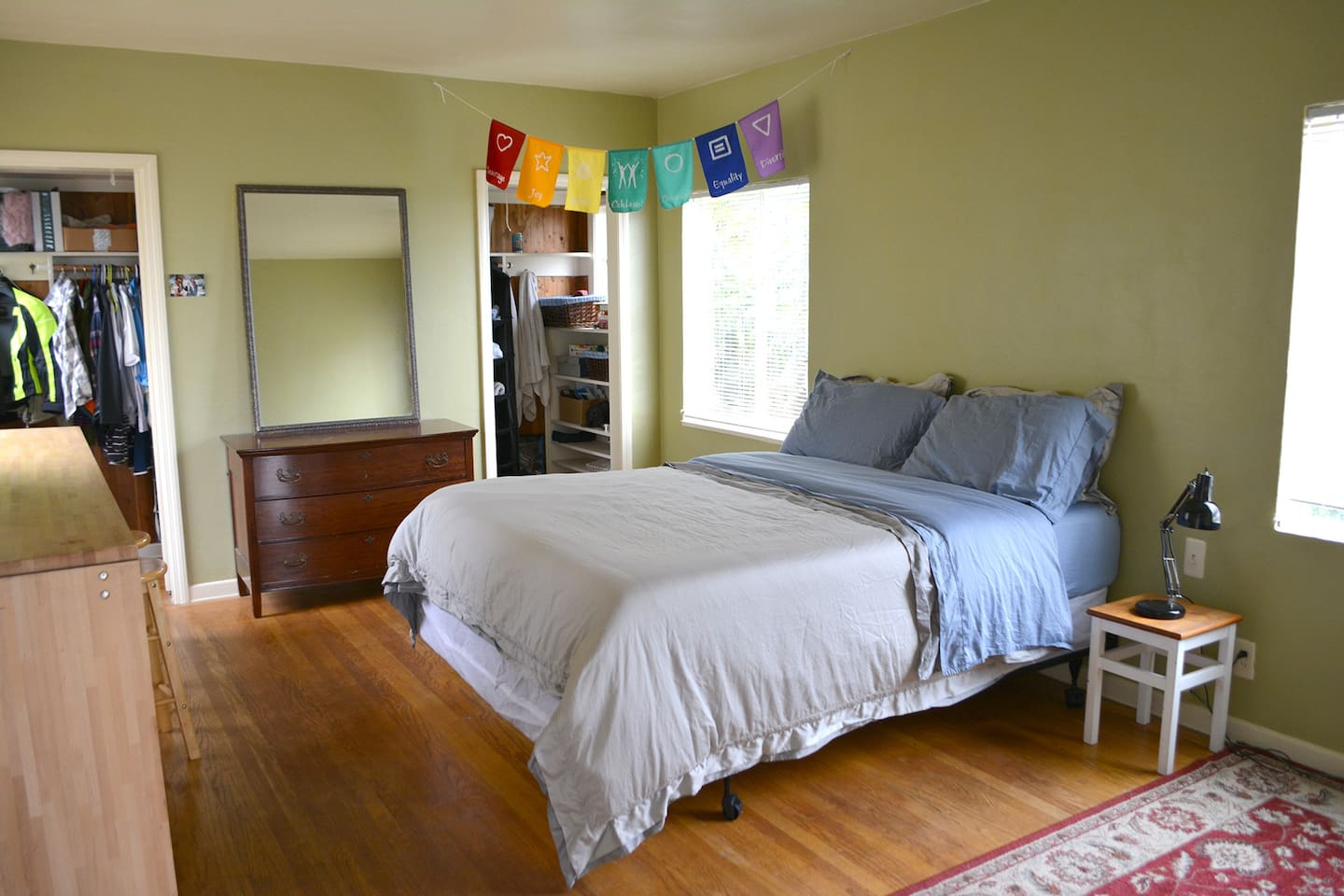 Comfy and spacious master bedroom with brand new queen bed and attached bathroom.