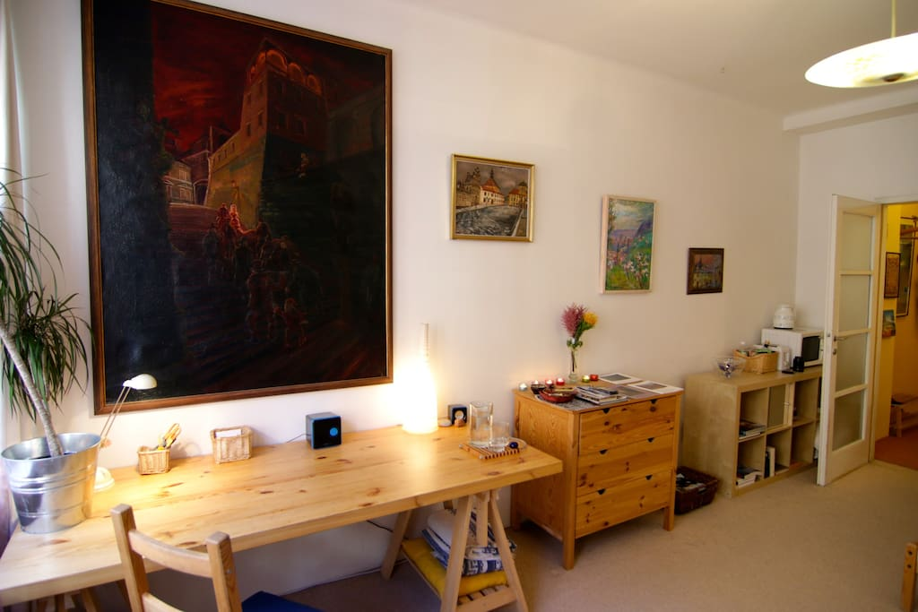 Comfortable home decorated with nice paintings