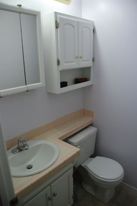 This is the bathroom, quaint and cozy