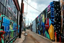 Graffiti art alleys like this are 4-8 blocks away from our place.