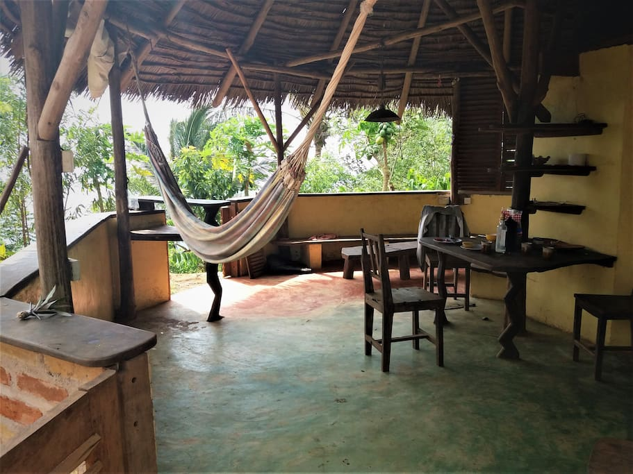 Living area with hammock, dining room table