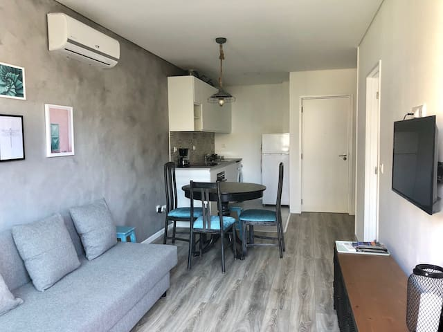Living room integrated to the kitchen.