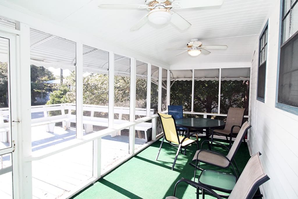 Large open deck and screened porch