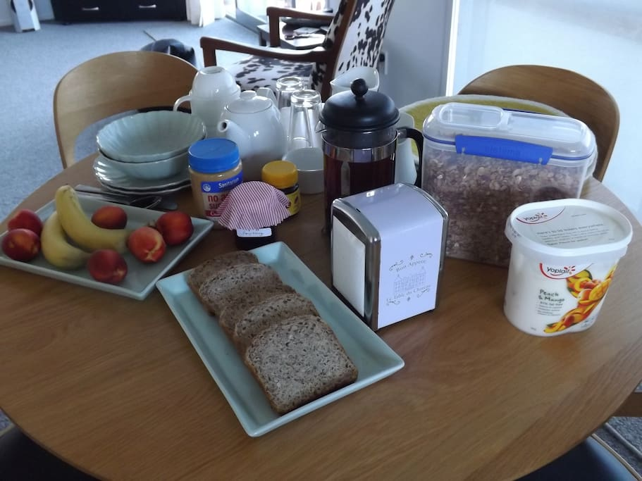 Continental breakfast included in cost. Tea, Coffee, Fruit Juice, Cereal, Toast, Yoghurt, Fresh Fruit