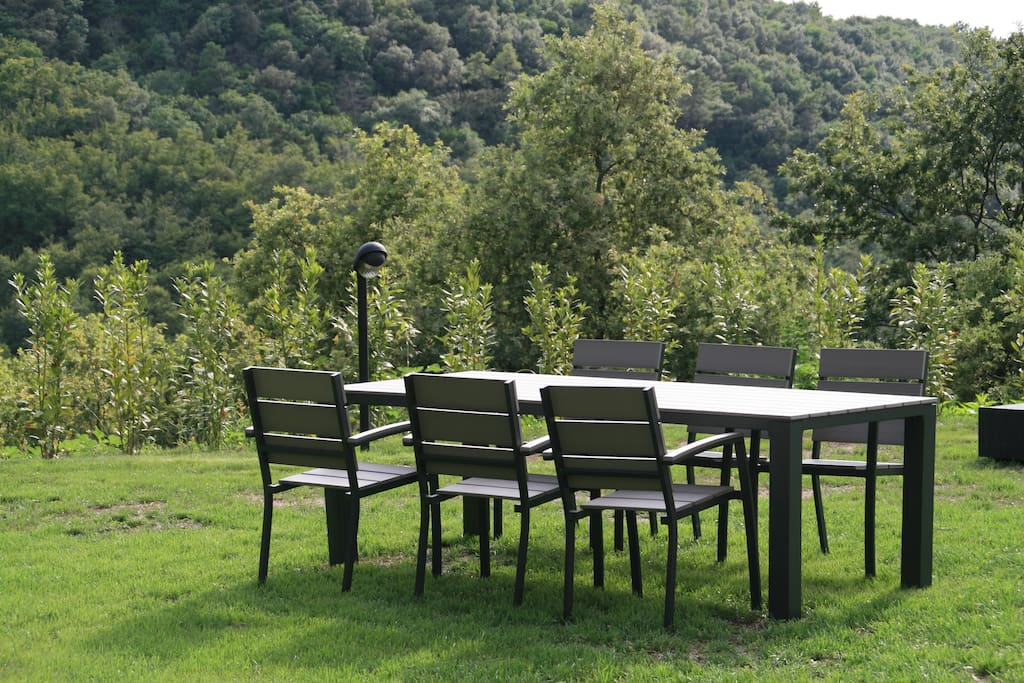 Outdoor table & chairs in garden