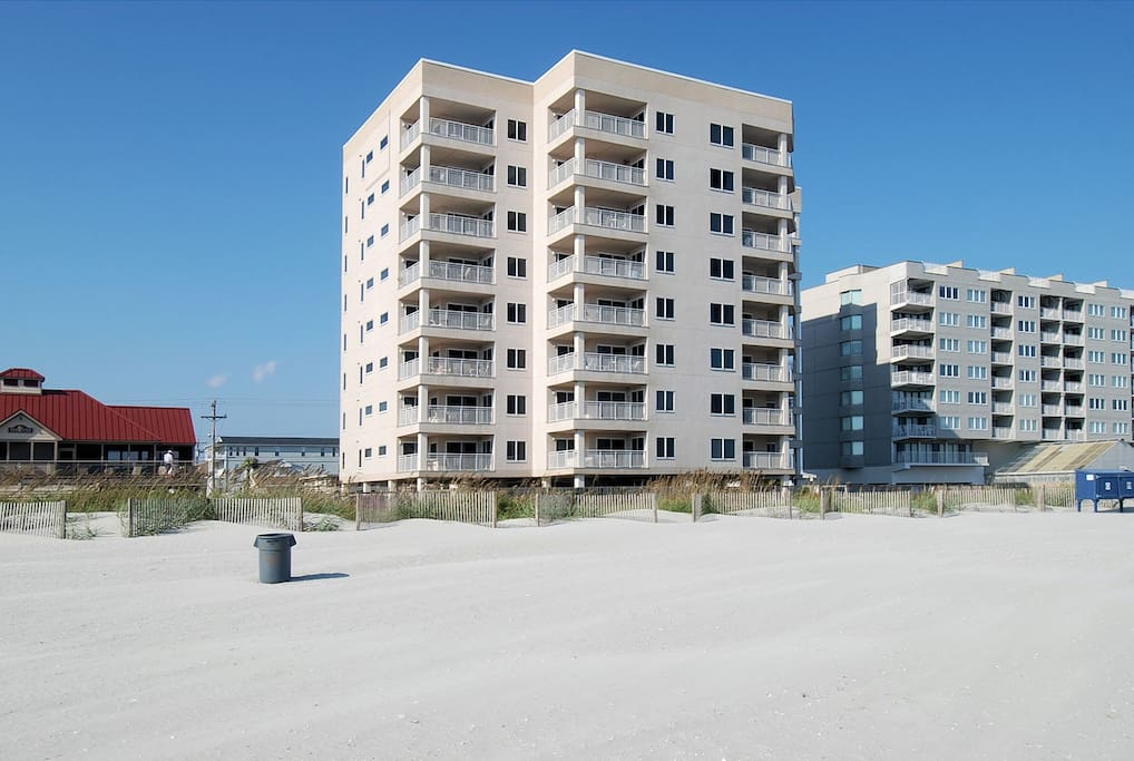 Exterior of the building from the beach.